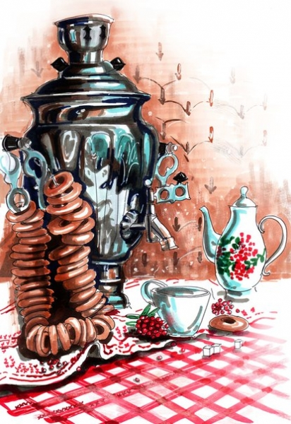 Самовар на столе картинки рисованные, открытки